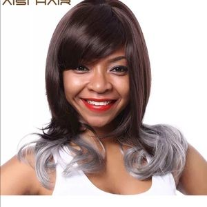 Dark Brown and Gray Ombre Wig